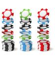 Gambling casino chips falling to stacks vector image vector image