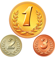 gold silver and bronze medal vector image vector image