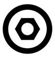 hex nut icon black color in circle vector image vector image