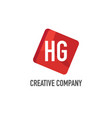 initial letter hg logo template design vector image vector image