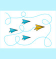 leadership concept with yellow paper plane vector image vector image