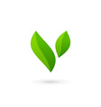 Letter V eco leaves logo icon design template vector image