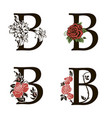 letters b with flowers bouquet vector image
