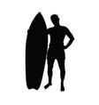 man silhouette with surfboard leisure vector image vector image