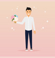 man with a bouquet of flowers flat design vector image vector image