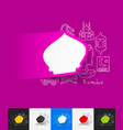 mosque paper sticker with hand drawn elements vector image vector image