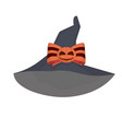 purple witches hat with an orange bow vector image vector image