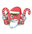 santa with candy red storage barn isolated on vector image