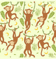 seamless pattern with cute monkeys graphic vector image