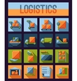 set logistics and delivery systems flat icons vector image