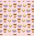 set of bakery food kawaii characters pattern vector image