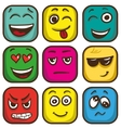 Set of colorful emoticons square emoji flat vector image