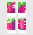 set of templates with abstract pink berries hand vector image