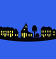 silhouette of a night city vector image vector image