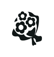 simple black bouquet of flowers icon on white vector image vector image