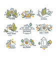 sweet eco home logo set wood house badges vector image