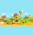 sweet fruits cartoon landscape 3d background vector image vector image