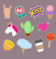 unicorn cactus kiss embroidery word icons cute vector image vector image
