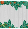 Green Christmas decoration on gray wood background vector image