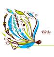 Decorative floral bird vector image