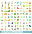 100 business career icons set cartoon style vector image vector image