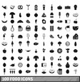 100 food icons set in simple style vector image vector image
