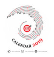 2019 calendar templatespiral calendarcalendar vector image vector image
