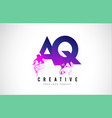 aq a q purple letter logo design with liquid vector image vector image