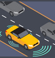 autonomous car icon drive sensor digital vector image vector image