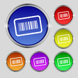 Barcode icon sign Round symbol on bright colourful vector image vector image
