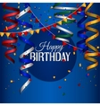 Birthday card with curling stream confetti and vector image vector image
