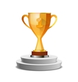 Bright glossy winner cup on white pedestal vector image vector image