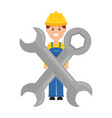 builder worker with helmet and wrench keys vector image