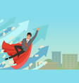 businessman flying up with growing statistics vector image