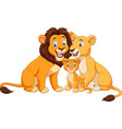 cartoon lion family isolated on white background vector image