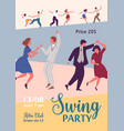 colorful poster for swing party with dancing vector image vector image