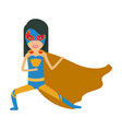 colorful silhouette with girl superhero in vector image