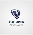 creative thunder shield logo concept design vector image vector image