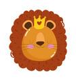 cute animals lion head cartoon isolated icon vector image