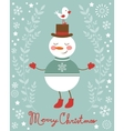 Cute snowman and bird vector image vector image