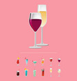 different alcohol drinks isolated on pink backdrop vector image