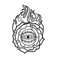 graphic flaming flower and all-seeing eye vector image vector image