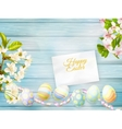 Greeting card and cherries blossom EPS 10 vector image