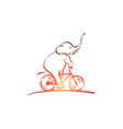 hand drawn elephant riding bicycle vector image vector image