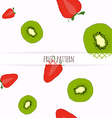hand drawn strawberries and kiwi seamless pattern vector image vector image