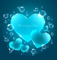 hearts on blue background vector image