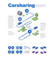 isometric carsharing service vector image