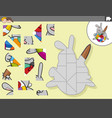 jigsaw puzzle game with easter bunny character vector image