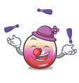 juggling jelly ring candy mascot cartoon vector image