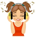 little cute girl enjoys listening to music vector image